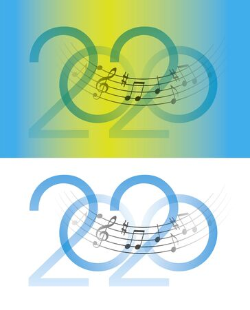 Musical Year 2020 with musical notes. Inscription 2020 with wavy musical notes. Vector available.
