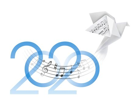 Musical Year 2020 with origami dove. Inscription 2020 and Stylized illustration of paper pigeon with musical notes. Vector available. Vectores