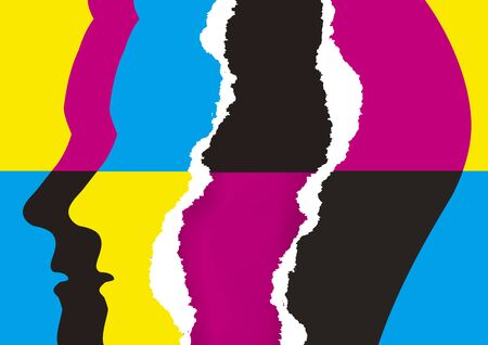Torn paper male heads, cmyk print colors. Illustration of two stylized Male heads silhouettes with torn paper and cmyk print colors background. Concept for presenting of color printing. Vectores