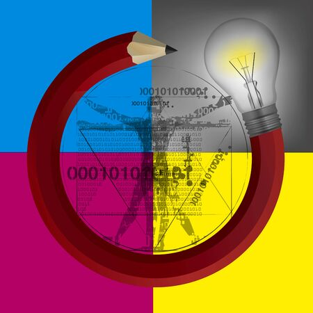Smart Pencil with bulb and Vitruvian man with binary codes and print colors. Illustration of Pencil in circle shape with lightbulb on cmyk colors background. Vector available.