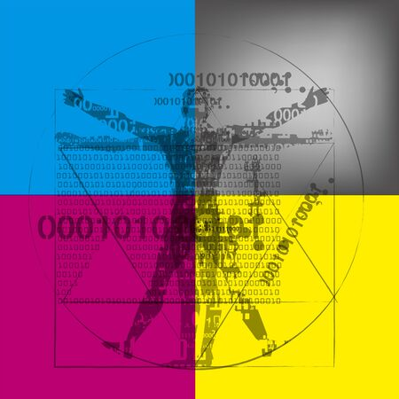 Vitruvian man with binary codes on CMYK colors background. Futuristic expressive Illustration of vitruvian man with a binary codes symbolizes digital age. Concept graphic design and color print.
