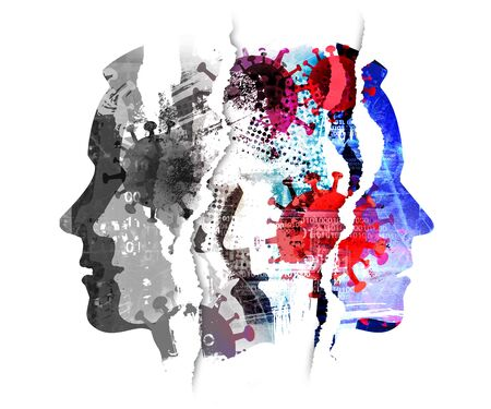 Pandemic of coronavirus, depression, human tragedy. Male heads, grunge expressive composition of stylized silhouettes shown in profile. Imitation of watercolor painting symbolizing pandemic COVID 19. Foto de archivo