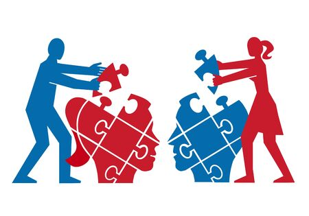 Couple, Mutual understanding and dialog, puzzle concept. Illustration of couple assembling a puzzle of partner's head. Psychology of relationship concept.Vector available. Vectores