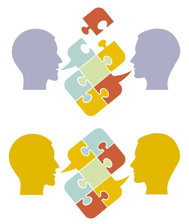 Men, psychology of understanding and dialogue. Two Male stylized head silhouettes with puzzle speech bubble symbolizing psychological processes of dialogs. Vector available