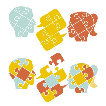 Couple, psychology of understanding and dialog, puzzle concept Two Male stylized head silhouettes with puzzle speech bubble symbolizing psychological processes of dialogs. Vector available
