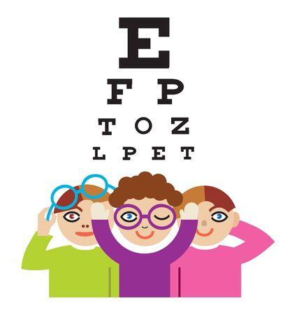 Enfants sur le test d'optométrie. Illustration de trois enfants à l'examen de la vue.Vecteur disponible.