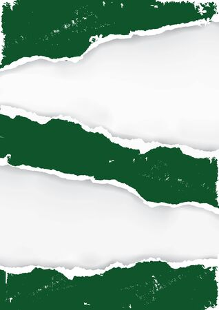 Dark green ripped paper. Illustration of torn paper with two places for your image or text. Tempalte for original banner. Vector available.
