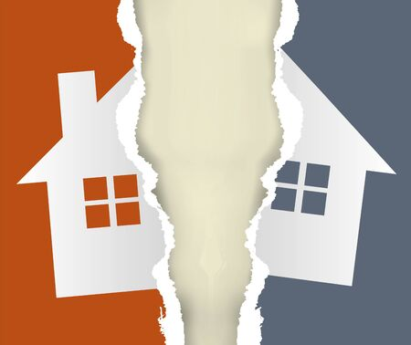 House, division of immovable property, torn paper concept. Ripped paper with the colorful symbol of the house symbolizing division of property. Vector available. Vectores