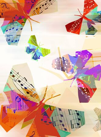 Origami butterfly with musical notes, decorative background.