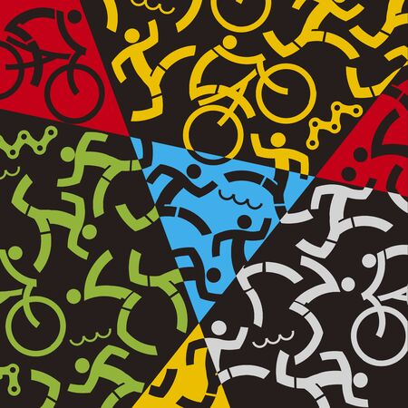 Triathlon icons, colorful dynamic background. Background with icons of triathlon athletes, swimmers, cyclists, runner. Vector availabl