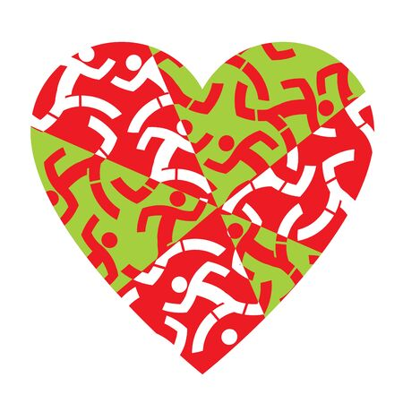 I love running colorful heart. Illustration of colorful heart with icons of running people.Useful as t-shirt design. Vector available.