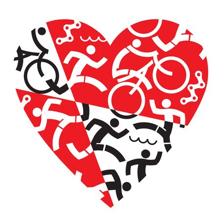 I love Triathlon, running, swimming, cycling. Illustration with red and black heart symbol with triathlon athletes, swimmers, cyclists, runners. Useful as t-shirt design. Vector available. Vectores