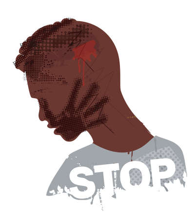 Desperate Black young man, Victim of violence and racism. Illustration of Stylized man grunge silhouette with hand print on the face and STOP inscription. The illustration does not contain real people. Vector available.