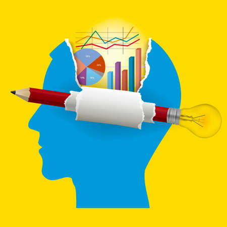 Smart business solutions, student of economy. Illustration of stylized male head with Pencil with bulb and ripped paper with economy charts. Vector available. Иллюстрация