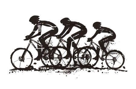 Mountain bikers, competition. Expressive grunge stylized illustration of three cyclists on mountain bike. Vector available.