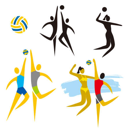 Volleyball Icons. Set of colorful and black volleyball symbols. Vector available. Иллюстрация