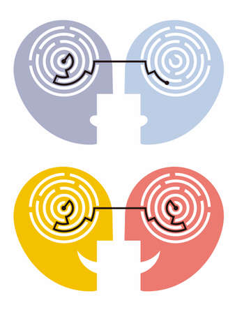 Understanding and misunderstanding, psychology concept. Two stylized human heads with the resolved and unresolved labyrinth. Vector available.