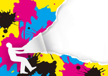 Color Print Promotion Template with CMYK splash. Paper man silhouette ripping paper with print colors splatters. Place for your text or image. Vector available. Vectores