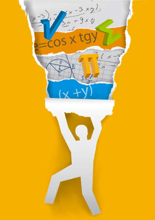 Learn and Discover math. Human silhouette ripping orange paper with mathematics symbols and notes. Vector available