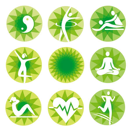 Yoga fitness icons, green circles. Set of healthy lifestyle symbols on decorative background.Vector available. Illusztráció