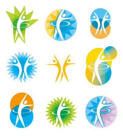 Icons aerobics, exercise, fitness. Set of colorful symbols of sport and healthy lifestyle. Vector available.