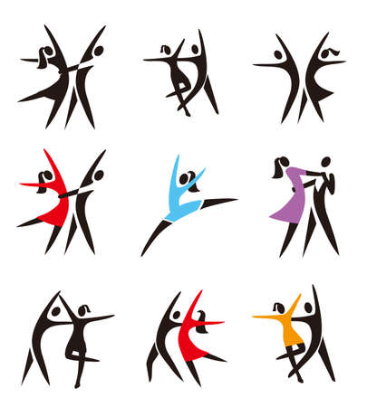 Dancing couple, ballroom dancing, ballet, icons. Set of black and colorful dance symbols.Isolated on white background. Vector available.