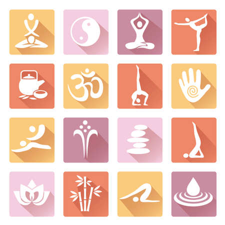 Spa yoga Massage icons with long shadow. Set of colorful web icons with healthy lifestyle symbols.Isolated on white background. Vector available. Illusztráció