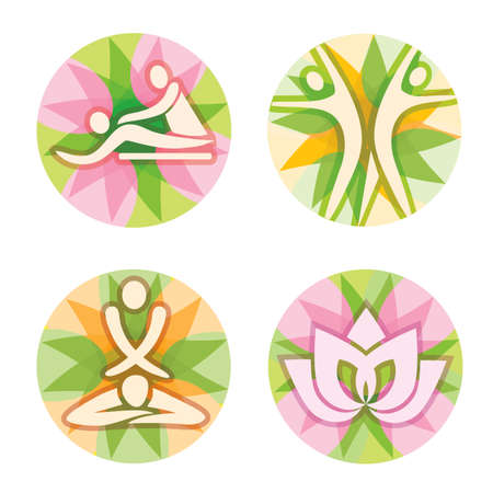 Spa, massage icons, decorative circles. Set of spa symbols on decorative background. Vector available. Vectores