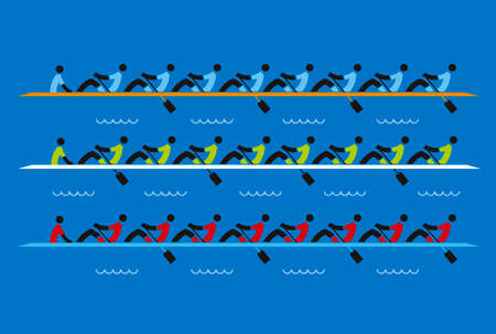 Rowing race, eights. Stylized illustration of three boats, rowers competitors on blue background.Vector available.