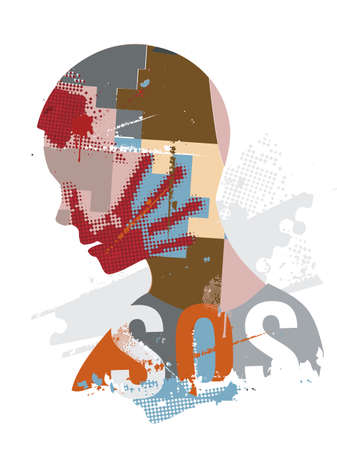 SOS Violence, suffering, desperate man. Human head stylized silhouette with hand print on the face symbolizing violence in the world. Vector available.
