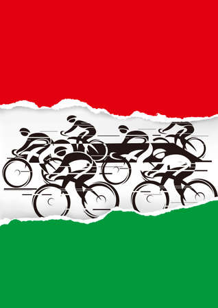 Cyclists racers, on torn paper with italy flag colors. Illustration of group of cyclist in full speed. Vector available.