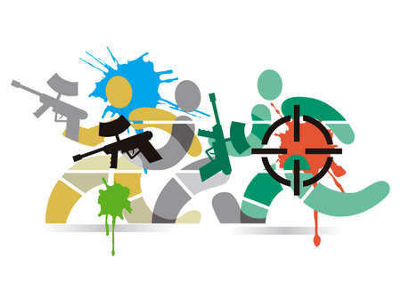 Paintball players. Stylized illustration of the running paintball players.Vector available. Vectores