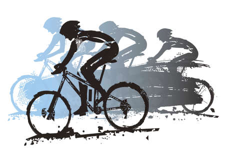 Mountain biking, competition. Expressive grunge stylized illustration of four cyclists on mountain bike. Vector available.