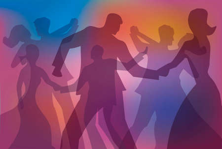 Ballroom dancing, dance party colorful background. Colorful background with silhouettes of dancing youngcouples. Vector available.