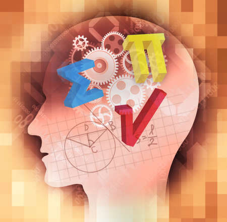 Mathematician, education background. Male stylized head silhouette with mathematics symbols and notes on blue background Foto de archivo