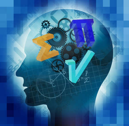 Mathematician, education background. Male stylized head silhouette with mathematics symbols and notes on blue background. Foto de archivo