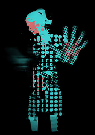 Desperate Young woman, fear of violence. Expressive Grunge stylized illustration of woman silhouette with arm in defensive position.