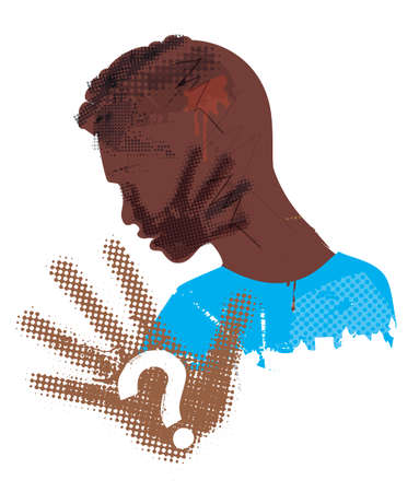 Desperate Black young man, Victim of violence and racism. Illustration of Stylized man grunge silhouette covering strike with hand print on the face. Vector available.