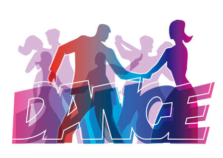Dancing people, dance party. Dancing couples with DANCE inscription. Stylized Illustration of dancers.Isolated on white background. Vector available.