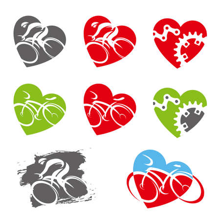 Cycling icons in heart shape. Set of colorful symbols with cyclists and cycling elements. Vector available.