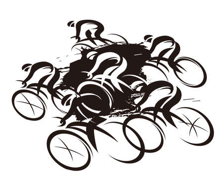 Cycling race, full speed. Expressive stylized black drawing of road cyclists, imitating drawing ink and brush. Vector available. Иллюстрация