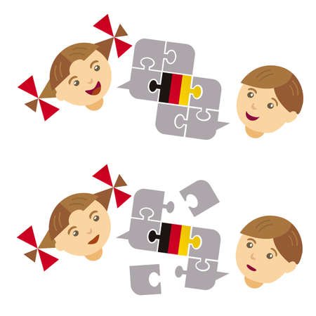Two Children, German lesson dialogue. Illustration of little boy and girl with a Puzzle bubble talk with a British flag symbolizing English conversation. Vector available. Иллюстрация