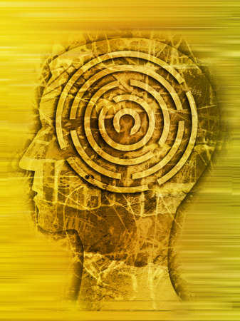 Man, Labyrinth of difficult life. Male head stylized silhouette on the scratched wall with maze symbolizing life stories.