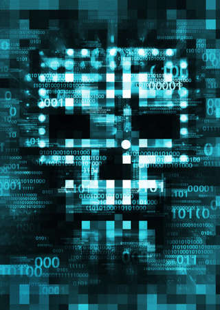 Pixel Skull, Computer virus, blue background. Illustration of Abstract Skull sign with destroyed binary codes. Web Hacking. Online piracy concept.