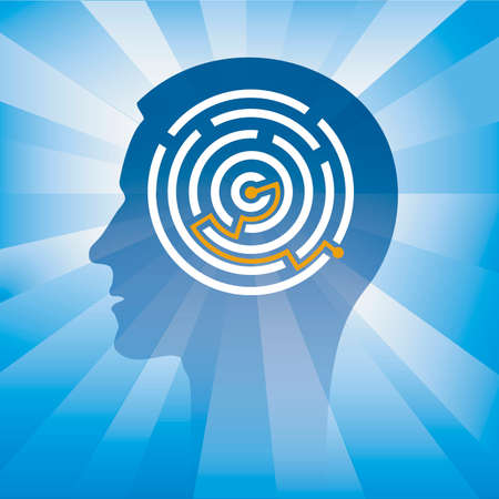 Man, Labyrinth, smart solution. Male head stylized silhouette with solved round maze symbolizing intelligence. Vector available. Иллюстрация