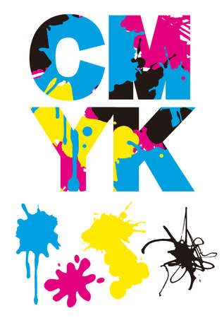 Cmyk inscription with colorful splatters. Illustration on white background. Concept for presenting color printing. Vector available.