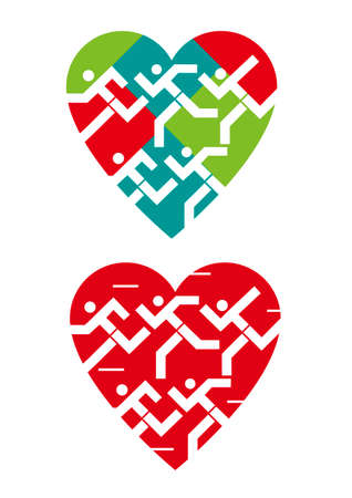We love running, heart symbols Illustrations of stylized runners in heart icon. Vector available.