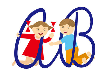 Kids and alphabet. Little boy and girl with letters.Vector available. Иллюстрация