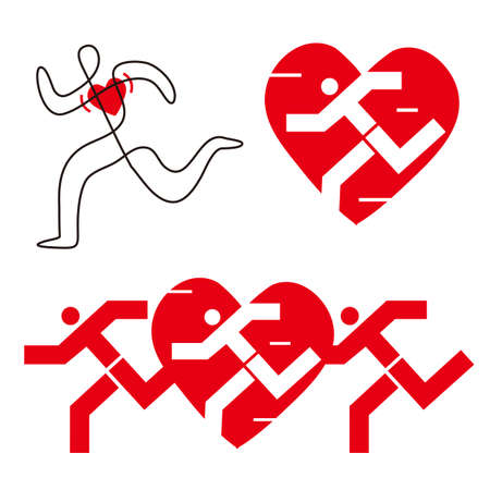 Running for a healthy heart. Three Illustrations of stylized runners with heart icon. Vector available. Иллюстрация