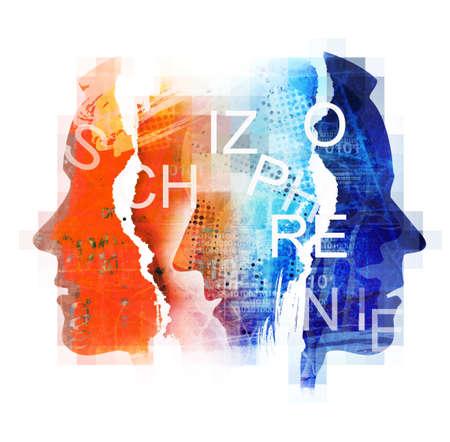 Male head silhouettes with Schizophrenia inscription. Concept symbolizing schizophrenia, dementia, depression. Фото со стока